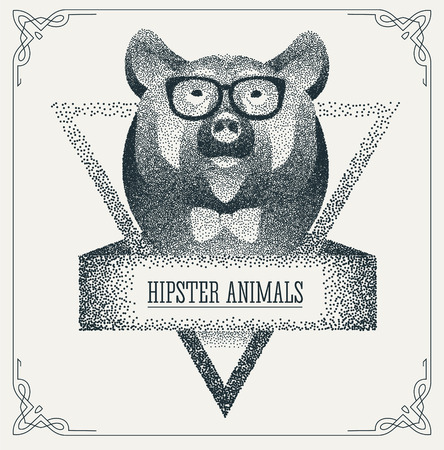 cute bear: Halftone hipster bear with black Dots. Abstract geometric modern hipster character. Vector illustration.