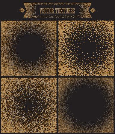 fondo blanco y negro: Antecedentes de la parte radial con los puntos de oro. Fondo moderno abstracto y geom�trico. tel�n de fondo vector illustration.Shiny. La textura de la hoja de oro. lunares, confeti.