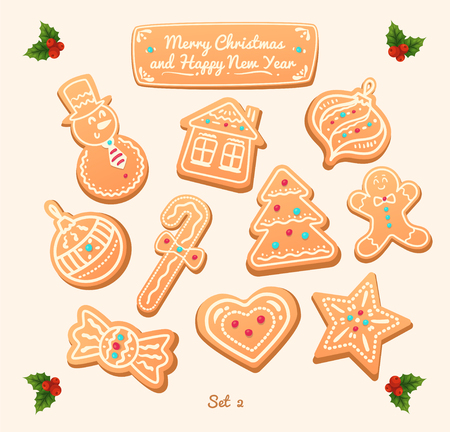 hearts: Big set of vector gingerbread cookies on white background. Snowman, snowflake, star, man, candy shapes, house, heart. Illustration
