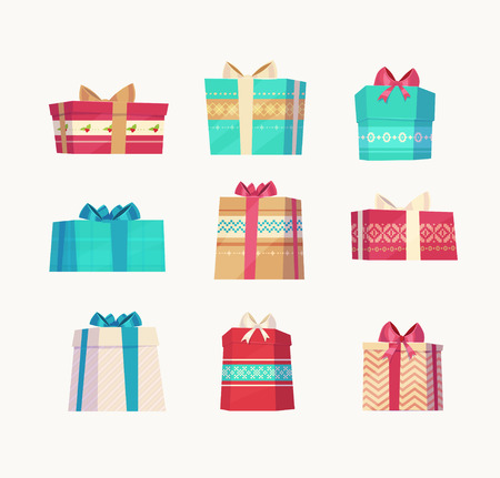 Christmas gifts set  on white background. Christmas card poster banner. Vector illustration. Çizim