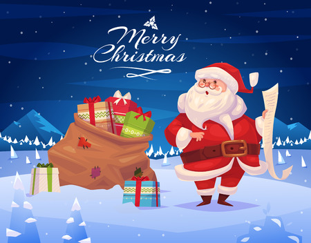 sacks: Funny santa with presents. Christmas greeting card background poster. Vector illustration. Merry christmas and Happy new year. Illustration