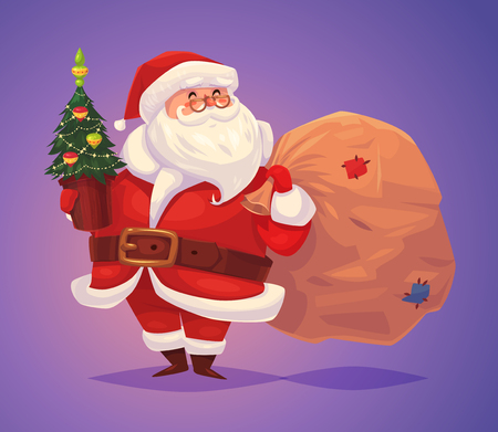 Funny santa with bag of presents and christmas tree. Christmas greeting card background poster. Vector illustration. Merry christmas and Happy new year.