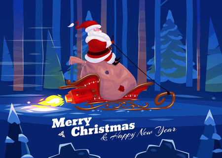 Funny santa with presents on the rocket sled . Christmas greeting card background poster. Vector illustration. Merry christmas and Happy new year.