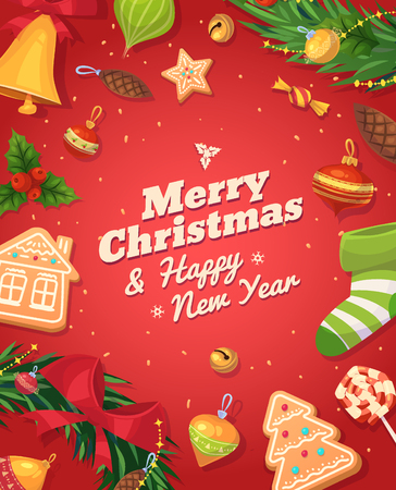 Christmas gingerbread cookies and sweets. Christmas greeting card background poster. Vector illustration. Merry christmas and Happy new year.