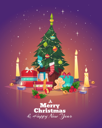 Christmas tree and gifts. Christmas greeting card background poster. Vector illustration. Merry christmas and Happy new year.
