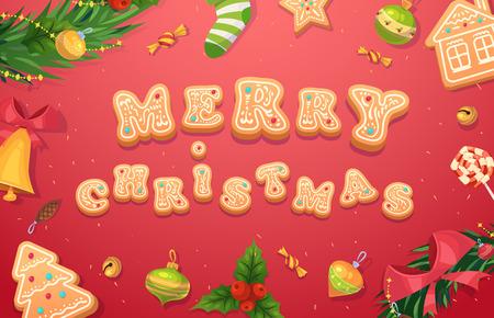 galletas de navidad: Navidad galletas de jengibre y dulces. Felicitación de Navidad cartel fondo de la tarjeta. Ilustración del vector. Feliz navidad y próspero año nuevo. Vectores