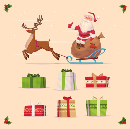 Canta claus and christmas gifts set  on yellow background. Christmas card poster banner. Vector illustration. Happy new year and Merry Christmas.