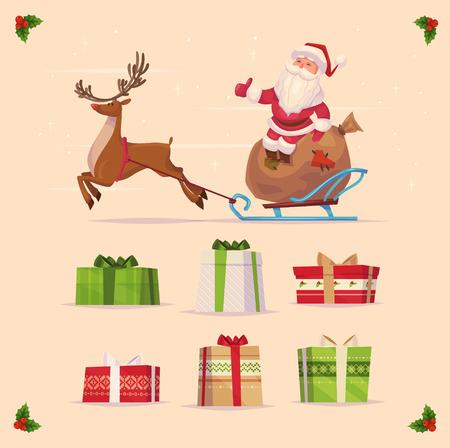 trineo: Canta Claus y regalos de Navidad se establezca sobre fondo amarillo. Bandera de la Navidad del cartel de la tarjeta. Ilustración del vector. Feliz Año Nuevo y feliz Navidad.