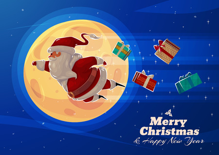 Funny Supersanta with presents on the background of the moon. Christmas greeting card background poster. Vector illustration. Merry christmas and Happy new year.