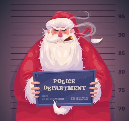 경찰에 나쁜 산타. 크리스마스 인사말 카드 배경 포스터. 벡터 일러스트 레이 션. 즐거운 성탄절 보내시고 새해 복 많이 받으세요.