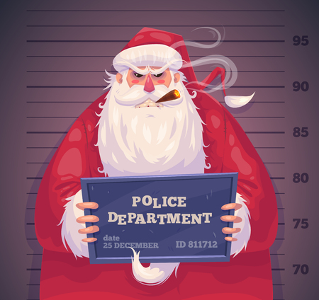 police cartoon: Bad Santa in police department. Christmas greeting card background poster. Vector illustration. Merry christmas and Happy new year. Illustration
