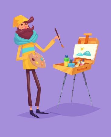 cartoon painter: Funny  illustration of  hipster artist. Cartoon character. Isolated vector illustration.