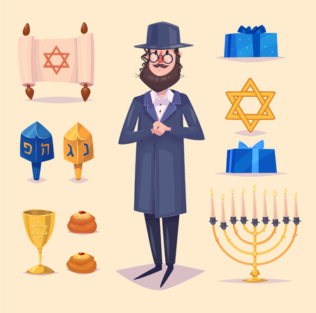 jews: Hanukkah celebration. Great world wide jewish holiday.  Set of colorful elements. Stock flat vector illustration set.