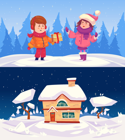 background house: Two kids. The boy makes a gift to a girl. Family house. Merry Christmas and happy new year illustration. Illustration