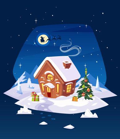 casale: casa di marzapane nel bosco con la luna. Babbo silhouette sullo sfondo della luna. Cartolina di Natale, poster o banner. Illustrazione vettoriale.