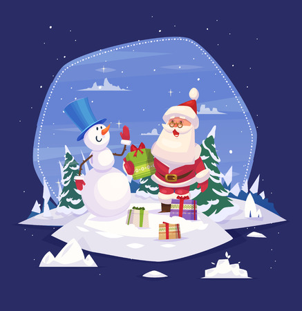 Vintage Christmas poster design with Santa Claus and snowman. Christmas card, poster or banner. Vector illustration. 向量圖像