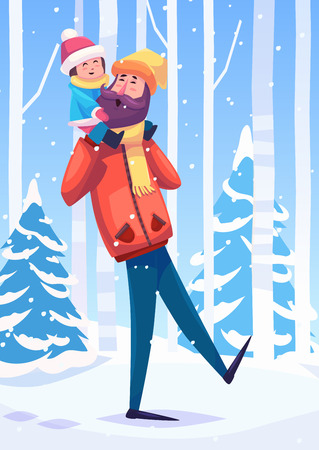 Vector illustration of a father and her daughter or son walking in the forest. Snow landscape background. Flat vector stock illustration.