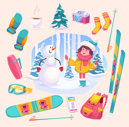 winter girl: Cute winter girl plaing with snowman in the forest. Snow landscape background. Flat vector stock illustration. Illustration