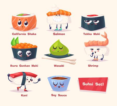 寿司セットです。醤油、わさび、寿司ロールします。日本料理。漫画イラスト。かわいいスタイリッシュな文字。