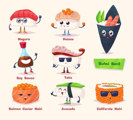 초밥 세트. 간장, 고추 냉이 초밥 롤. 일본 음식. 만화 그림. 귀여운 세련된 문자.