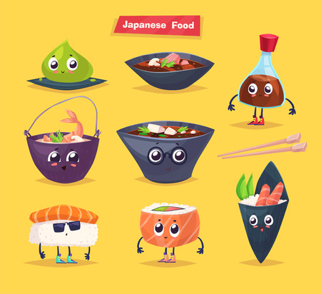 soy sauce: Japanese food. Soy sauce, wasabi, soup and sushi rolls. cartoon illustration. Cute stylish characters. Illustration