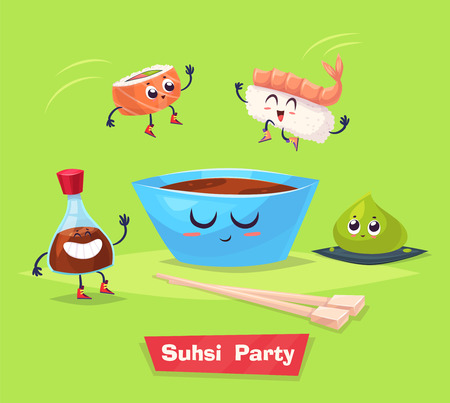 green crab: Sushi party. Two sushi jump into cup with soy sauce. wasabi and soy bottle stay beside them. Japanese food. cartoon illustration. Cute stylish characters.