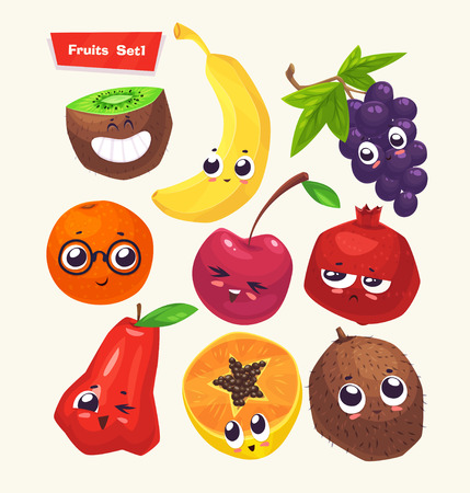 fruta tropical: Conjunto de frutas lindo divertido. comida divertida. ilustraci�n de dibujos animados. personajes linda con estilo. Vectores