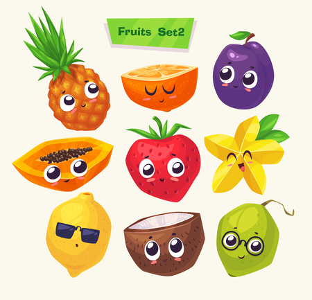 Set of funny cute fruits. Funny food. cartoon illustration. Cute stylish characters.