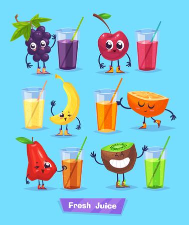 platano caricatura: Conjunto de frutas lindas divertidas y jugo fresco. comida divertida. de dibujos animados de la ilustración. personajes linda con estilo.