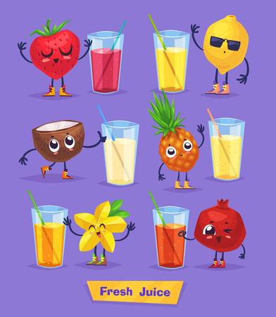 limon caricatura: Conjunto de frutas lindas divertidas y jugo fresco. comida divertida. de dibujos animados de la ilustración. personajes linda con estilo.