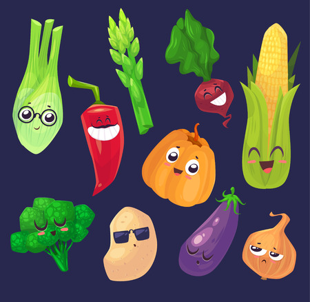 vegetable garden: Cute  and funny cartoon vegetables characters. Best friends set.