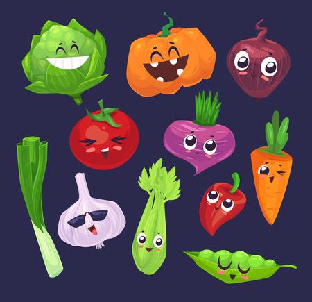frutas divertidas: dibujos animados verduras caracteres lindo y divertido. Los mejores amigos establecen dos. Vectores