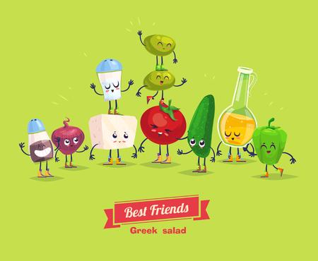 divertido: Ensalada griega. Personajes de dibujos animados vegetales lindos y divertidos con aceite de oliva. Mejores amigos establecen. Vectores