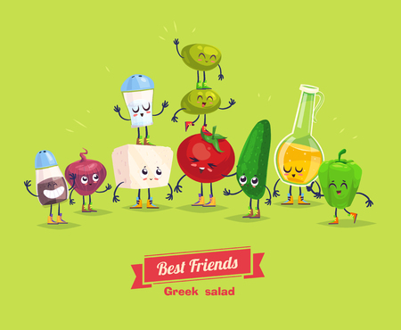 Greek salad. Cute  and funny cartoon vegetable characters with olive oil. Best friends set.  Vectores