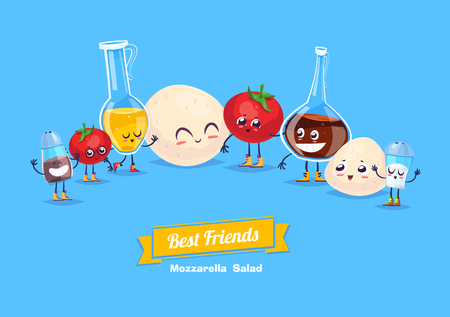 Mozzarella salad. Cute  and funny cartoon vegetable characters with olive oil and vinegar. Best friends set. Illustration
