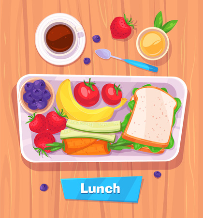 Healthy lunch with banana. berries, sandwich, coffee and juice. View from above on stylish wooden table with copy space.  Ilustração