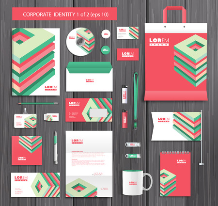 artistic texture: White corporate id template design with red, green abstract elements. Documentation for business. Illustration