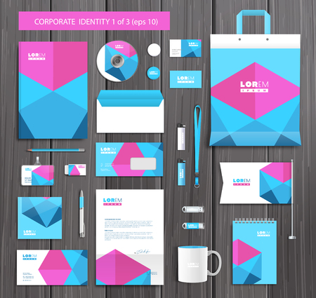 company background: White corporate id template design with pink, blue abstract elements. Documentation for business.