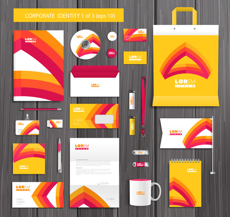 company background: White corporate id template design with red, yellow abstract elements. Documentation for business.  Illustration