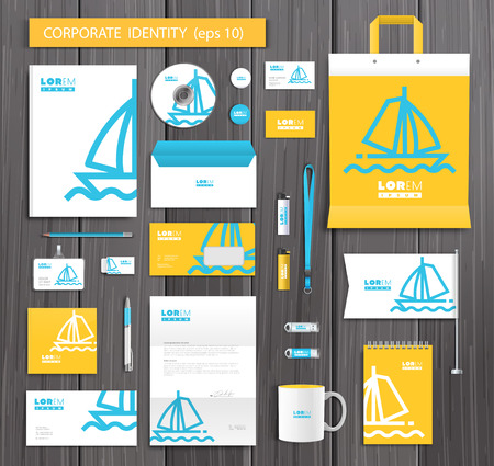 artistic texture: White corporate id template design with trandy logo and blue and yellow abstract elements. Documentation for business.