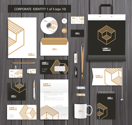 company background: White corporate id template design with gold, black abstract elements. Documentation for business. Illustration