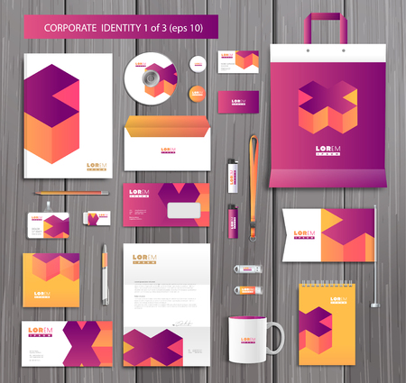 envelope design: White corporate id template design with stylish cross and pink, yellow abstract elements. Documentation for business.