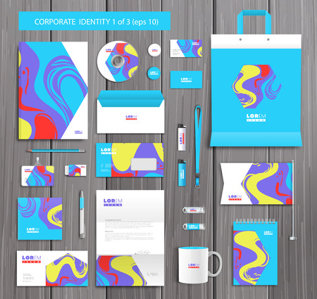 company background: White corporate id template design with stylish stains and pink, yellow, blue abstract elements. Documentation for business. Illustration