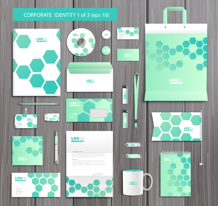 documentation: White corporate id template design with stylish honeycomb abstract elements. Documentation for business.