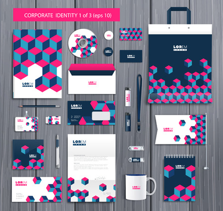 editable: White corporate id template design with stylish cubes and pink, blue abstract elements. Documentation for business.
