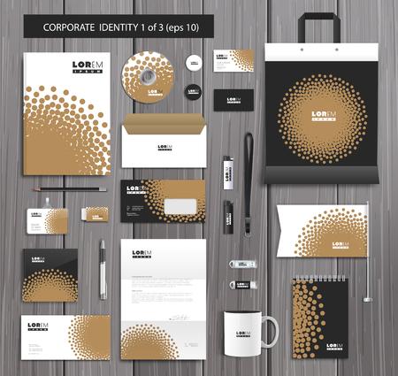 Diseño del modelo de identificación corporativa blanco con dotwork elegante y elementos abstractos de oro. Documentación para los negocios.