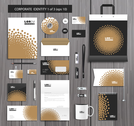 editable: White corporate id template design with stylish dotwork and gold abstract elements. Documentation for business. Illustration
