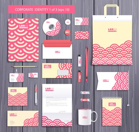 Blanc conception de modèle identifiant d'entreprise avec des cercles élégants et éléments abstraits roses. Documentation pour les entreprises.
