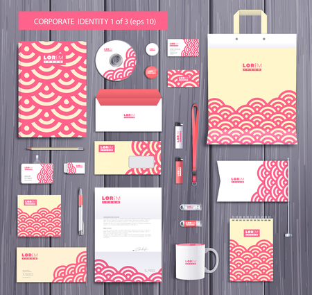background stationary: White corporate id template design with stylish circles and pink abstract elements. Documentation for business.