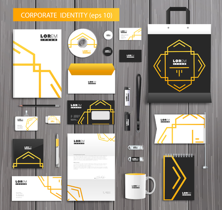 White corporate id template design with stylish design and yellow abstract elements. Documentation for business.  Illustration